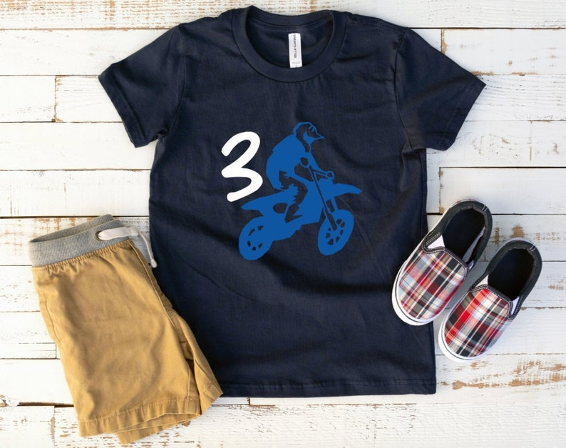 Toddler Boys Dirt Bike Birthday Shirt 3rd