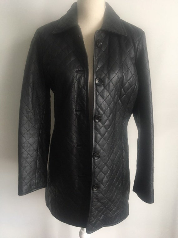 Neiman Marcus Quilted Leather Coat