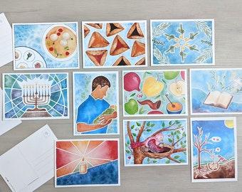 Jewish Holiday and Lifecycle Watercolor Art Postcard Set
