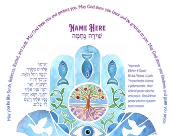 Baby Blessing Hamsa Hand Watercolor with Jewish Blessings