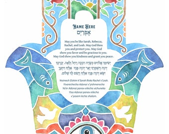 Baby Blessing Nested Hamsa Hand Watercolor with Jewish Blessings