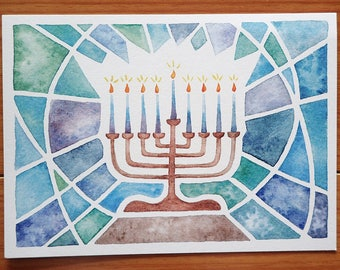 Hanukkah Menorah Postcard with original watercolor stained glass style design