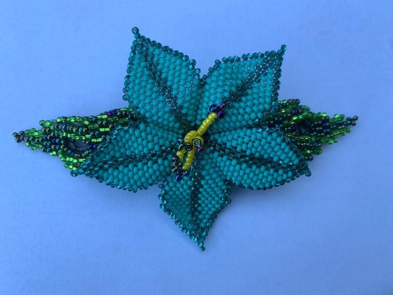 Handmade Guatemalan Beaded Hair Flower Accessory Barrette Clip w Wooden Stick Gift