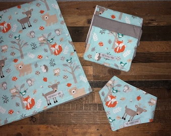 Baby Blue Woodland Critters Baby Blanket Gift Set