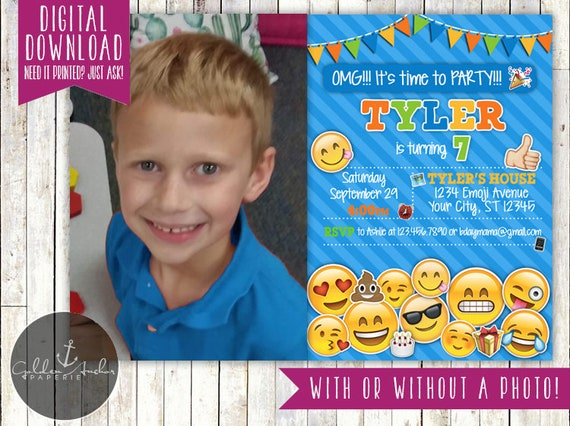 Emoji Birthday Invitation Invite Boy Girl Photo