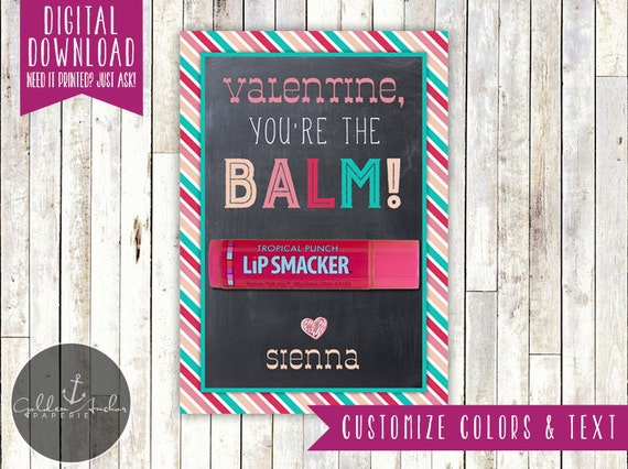 photo regarding You're the Balm Printable identified as Youre the Balm Valentines Working day Reward Tag - Lip Balm Card