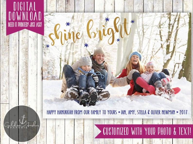 Picture Rustic Shine Bright Hanukkah Photo Card Gold Happy Hanukkah Printable DIY