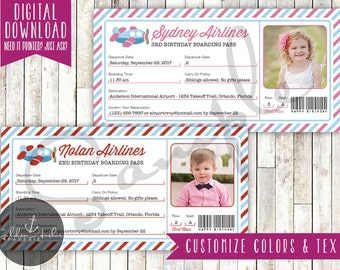 Airplane Ticket Birthday Invitation, Boarding Pass, Plane Ticket Invite, Photo - Printable DIY