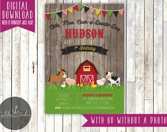 Farm Birthday Invitation, Barnyard Birthday Invite, Farm Animals Invitation, Old McDonald, Photo - Printable DIY