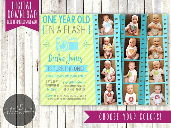 One Year Old In A Flash Birthday Party Invitation