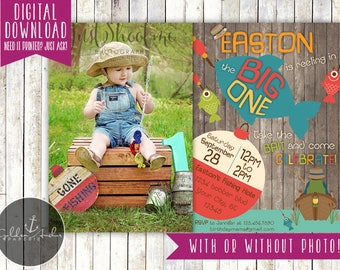 Big One Fishing Invitation, Fishing First Birthday Invite, Fishing Invitation, Photo - Printable DIY