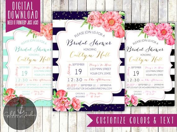 848ce97cfea9 Peony Stripe Bridal Shower Invitation