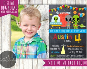 Alien Birthday Invitation, Outer Space Birthday Invite, Out of This World Invitation, UFO, Photo - Printable DIY