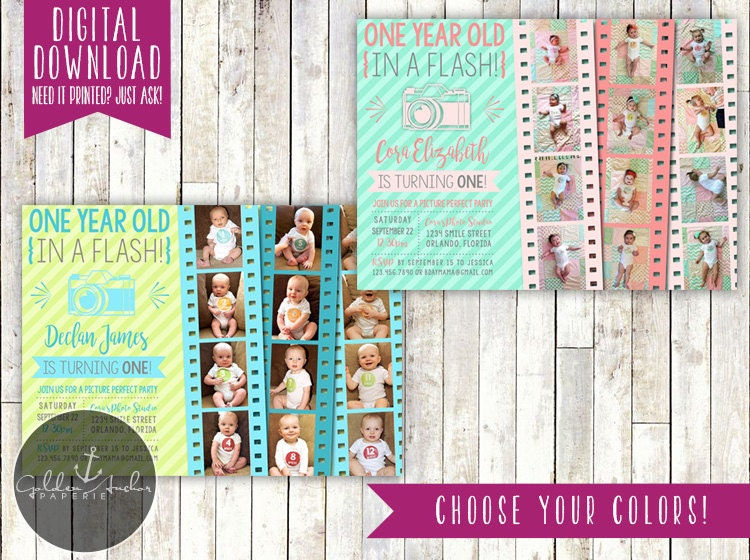 One Year Old In A Flash Birthday Party Invitation Invite Photo