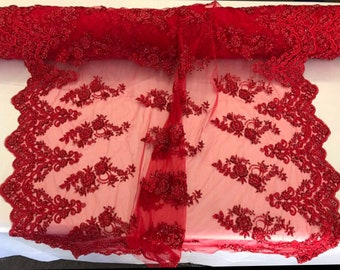 Red Hand Beaded Imperal Sequins Lace-Sold By The Yard