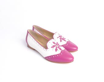 Pink & White Italian Leather Loafers With Floral Detail, Flat Shoes, Flats, Slip-Ons, Leather Shoes