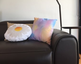 Custom colourful mixed colour cushion pillow handpainted splatter contemporary calico back
