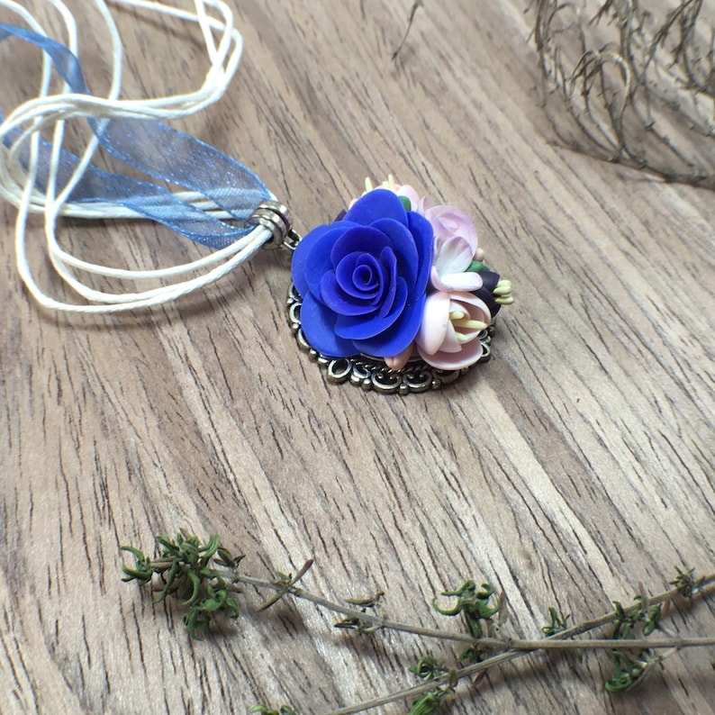 Flower lover gift idea Blue rose necklace for mom Mothers day gift Birthday gift from daughter Charm pendant for grandmother Flower necklace