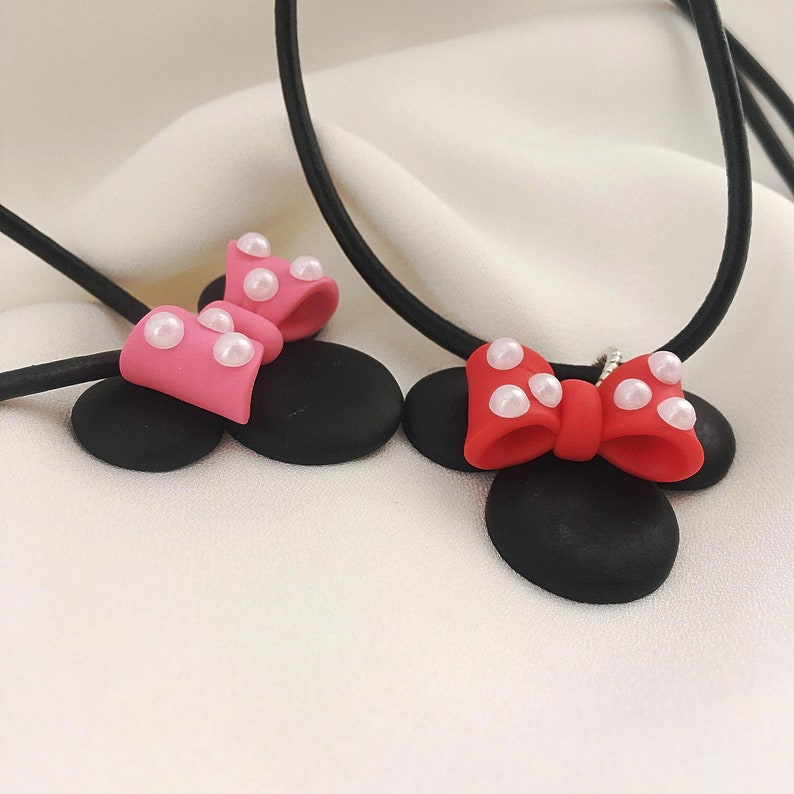 Minnie mouse pendant Cartoon pendant Birthday present for daughter Black pink necklace Girls necklace Cute baby pendant Birthday gift ideas