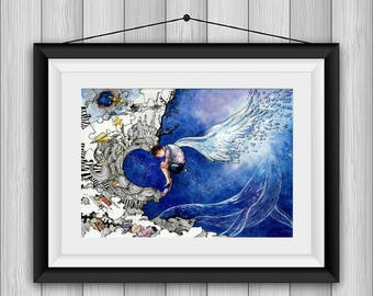 Will You Embrace Me- Original Watercolour Painting, Blue Whale, Starry Night, Kid, Doodle