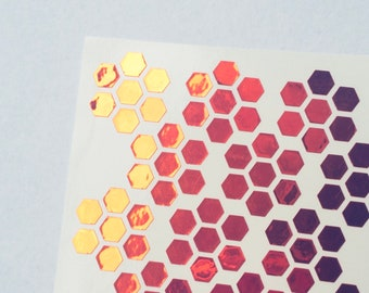 Pink Holographic Tiny Hexagons Planner Stickers