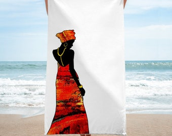 Lady in red.. Beach towel..