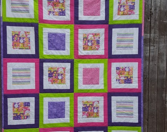 Easter quilt etsy easter lap quilt easter quilt lap quilt easter gift holiday quilt pink purple quilt bright colors quilt kids quilt handmade negle Choice Image