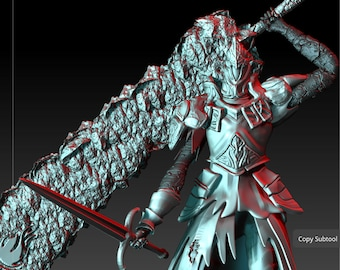 3D Print Miniatures Champions of the Void Cursed Mercenary Knight Broad Sword and Dagger Table Top D/&D