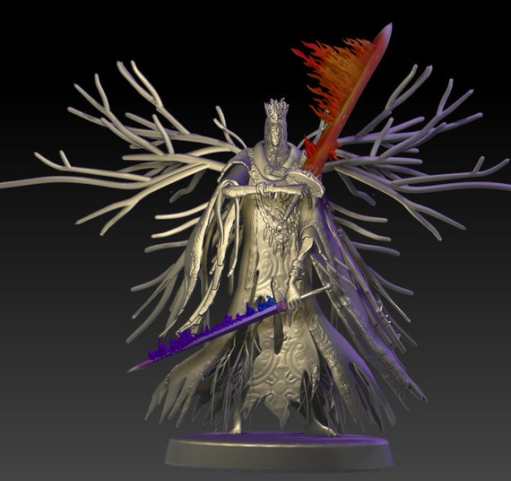 3D Print Miniatures Champions of the Night Void Smoke Knight of Ash Flaming swordsman of a fallen kingdom Table Top D/&D