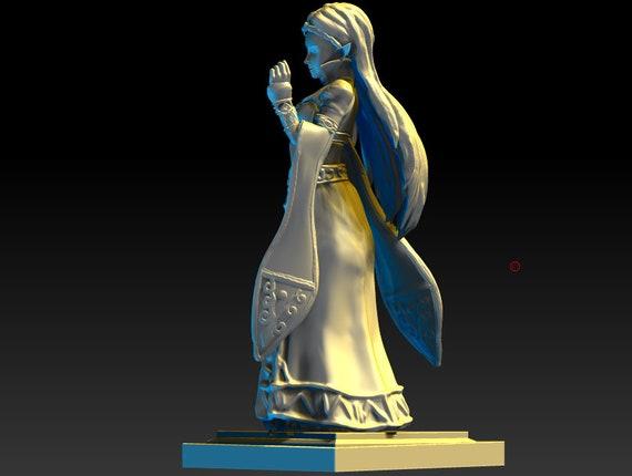 3d Print Miniatures Amiibo Hero Xl Royal Princess Zelda Breath Of The Wild Botw Mastersword Triforce Base Legend Of Zelda