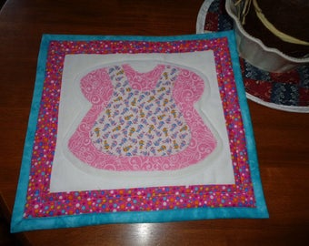 Quillted Baby Dress Topper or Wall Hanging - Dark Pink & Turquoise Border