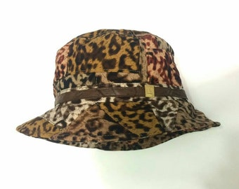 b92c285a65a Vintage LAURANT BENOM PARIS Leapord Hats Buckret Pacthwork Design Free Size