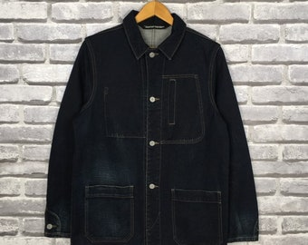 Vintage 1980s Workers Jeans Jacket Women Large Workwear Four Pocket Blue Denim Jacket Size L