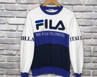 Vintage ZARAGOZA ITALY Sweatshirt Multicolour Block Big Logo Embroidered Size Large