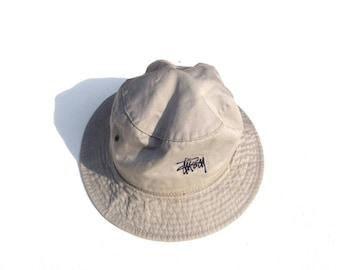 3b5410db Vintage STUSSY Bucket Hats Embroidered Logo Size Small/ Medium