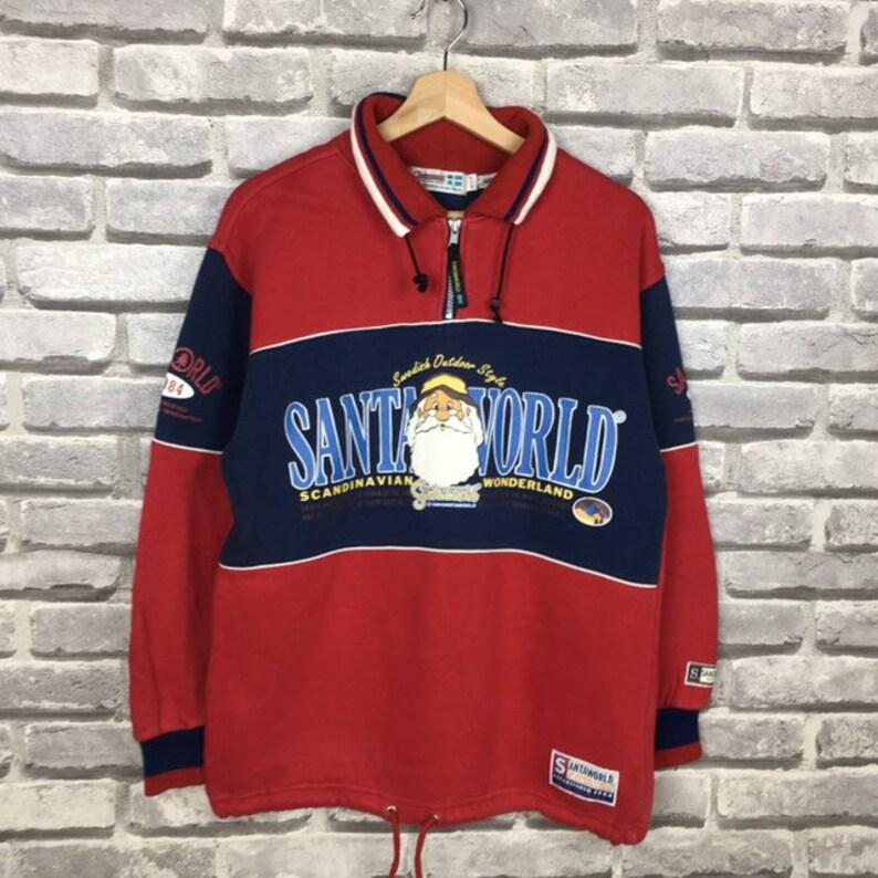 Vintage 90s SANTA WORLD Sweatshirt Big Logo Spell Out Unisex Casual Sportswear Size Medium