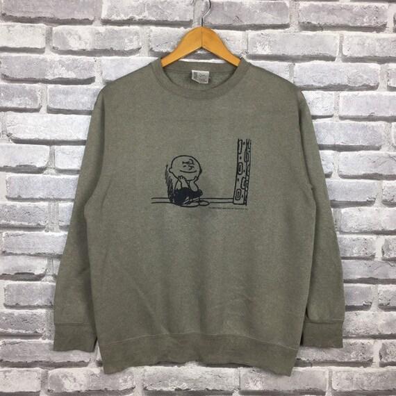 Vintage PEANUTS Sweatshirt Big Image Logo Woodstock 90s Sweatshirt Cartoon Anime Series