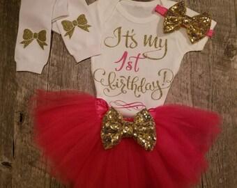 Pink TUTU Birthday Set, Half, 1/2, First, Second Birthday - TUTU, Onesie, Leg Warmers and Matching Bow