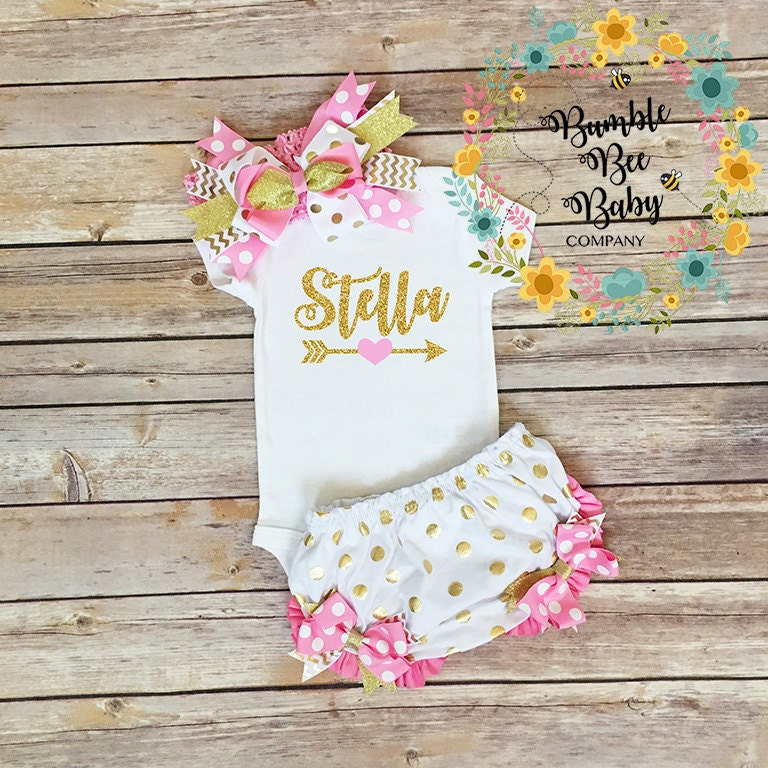 Personalized Baby Girl Outfit Pink And Gold Newborn Onesie Bloomers