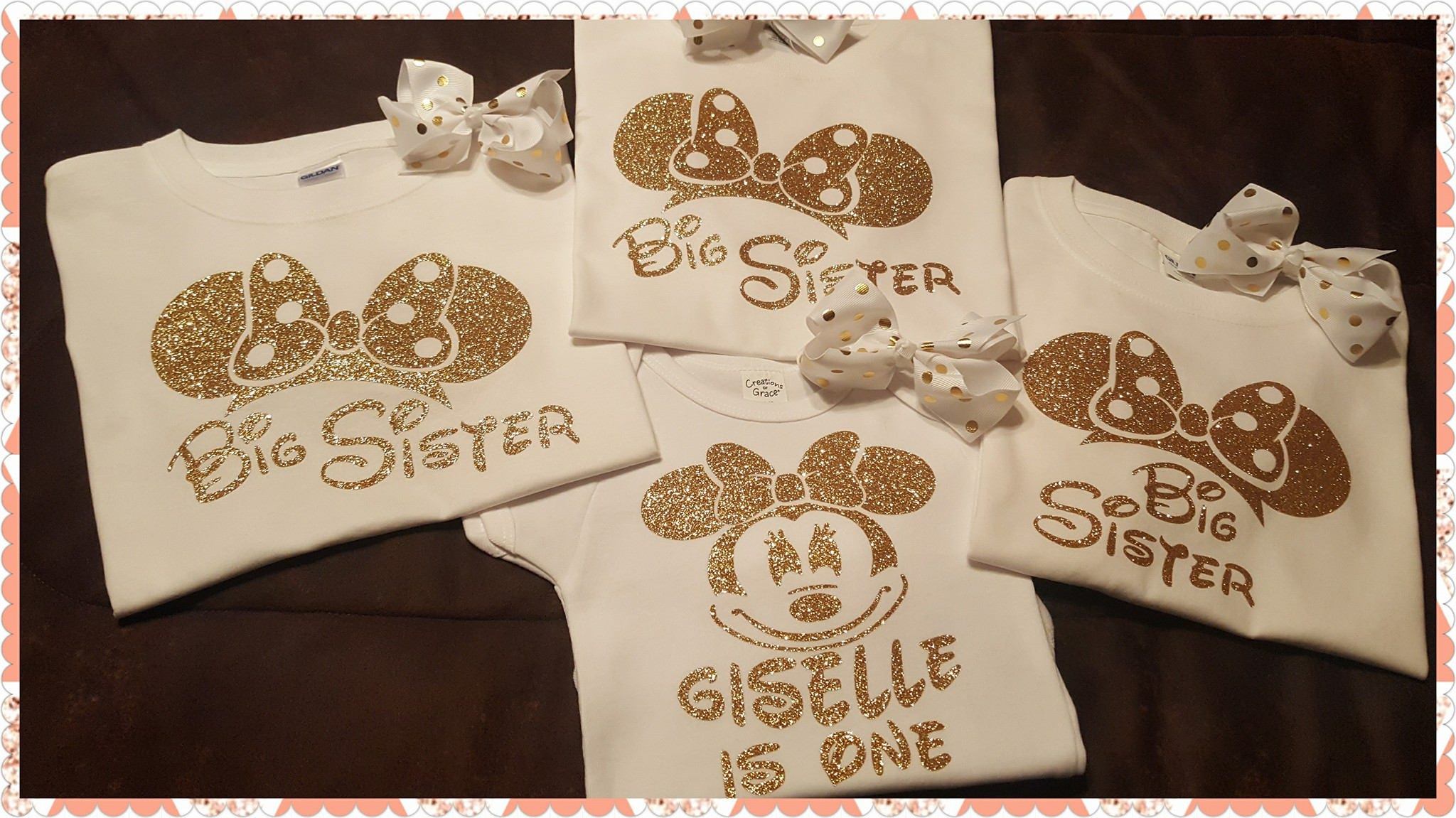 Minnie Mouse Birthday Shirt Or Onesie With Sibling Relative Shirts Set Mom Dad Sister Brother Granny Papa Uncle Etc