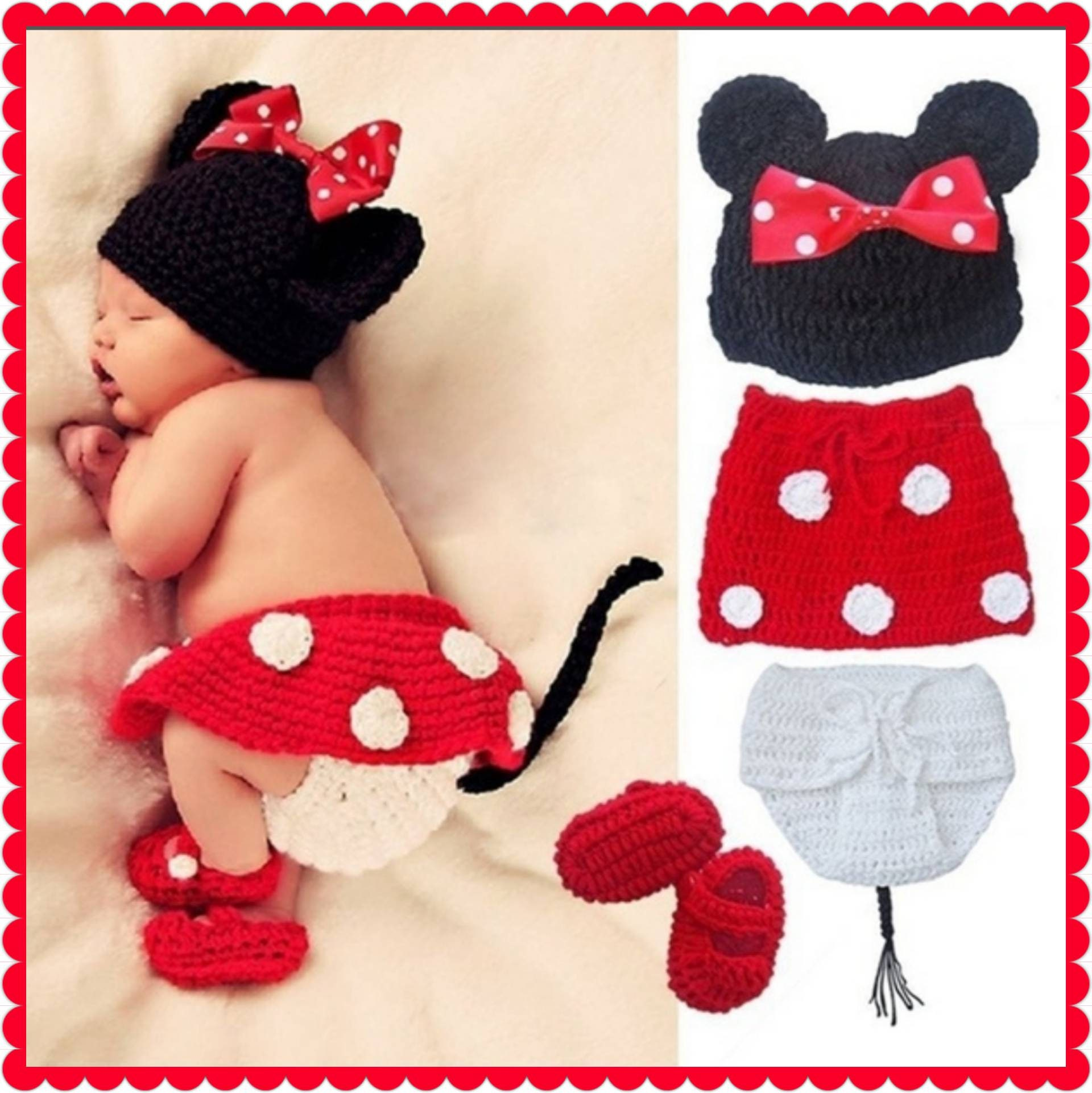 Newborn Minnie Mouse Crocheted Baby Hat With Bow Crocheted Diaper