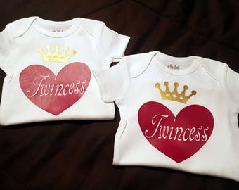 Twins, Twin Girls, Twincess, Princess Crown, Twin Set - Super Cute and Makes An ADORABLE Baby Shower Gift!