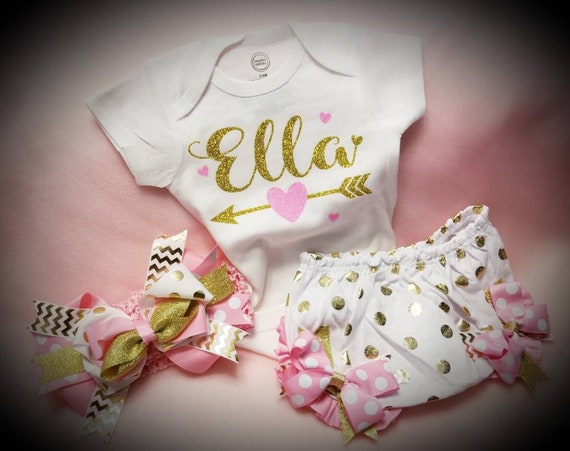 80038accc ... Sparkle Outfit $30.00 Personalized Baby Girl Outfit Pink and Gold  Newborn Onesie Bloomers and Headband Set Baby Shower Gift