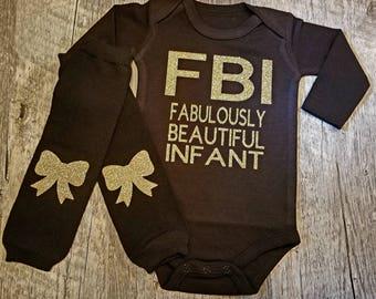 2 Piece - FBI, Fabulous, Beautiful, Infant, Onesie, Leg Warmers Set...Gold & Black