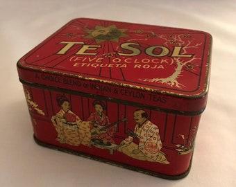 Te Sol Tea Tin / Te Sol Five O'Clock Tea Tin / Te Sol Tea Company Tin / Antique Tea Tin / 1920s Tea Tin / Antique Tin