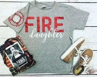 b2b0ccd3b Fire daughter shirt/firefighter daughter shirt/kids firefighter shirt/girls  shirts/girls firefighter shirt