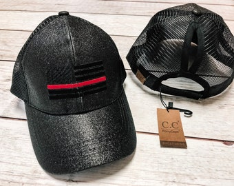 Thin red line pony tail hat thin blue line pony takl hat baseball hat firefighter  hat police hat fore wife hat police wife hat ff leo f2d9ebb2b974