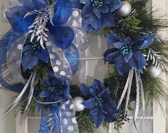 christmas wreathblue christmas wreathchristmas door wreathnavy blue christmas decorblue door wreathpoinsetta wreathblue silver wreath - Blue And Silver Christmas Decorations