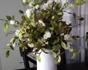 Farmhouse arrangement,farmhouse centerpiece,farmhouse floral arrangement,rustic arrangement,artichoke arrangement,rose arrangement,