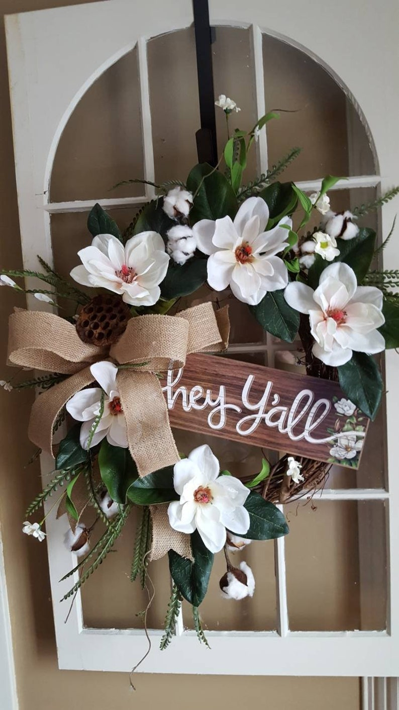 Magnolia Wreath Farmhouse Wreath Farmhouse Door Etsy